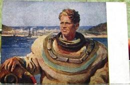 Taucher Des Kuibyschew-Wasserkraftwerks Künstler Plotnov 1952 UdSSR Seltene Kunst Postkarte - Russia