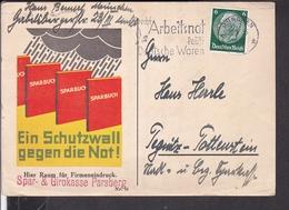 """Postkarte Sparbuch """" Ein Schutzwall Gegen Die Not ! """" , Parsberg , Stempel München 1935 - Storia Postale"""