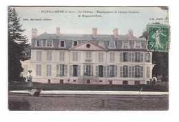 78 Flins Sur Seine Le Chateau Emplacement De L' Ancien Domaine  De Hugues Le Roux Cpa Carte Animée Colorisée Cachet 1908 - Flins Sur Seine