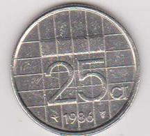 1986 Olanda - 25 C Circolata (fronte E Retro) - Paesi Bassi