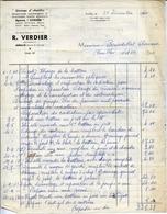 """77 Garage D'AMILLIS - R. VERDIER, Agence """"CITROËN"""" - Facture De Décembre 1960 - France"""