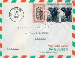 1962 , COSTA DE MARFIL , BEOUMI - NANTES , SOBRE CIRCULADO - Costa De Marfil (1960-...)