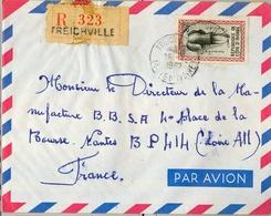 1962 , COSTA DE MARFIL , TREICHVILLE - NANTES , SOBRE CERTIFICADO , TRÁNSITO ABIDJAN , LLEGADA - Costa De Marfil (1960-...)