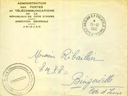 1966 , COSTA DE MARFIL , ABIDJAN , SOBRE DE LA ADMINISTRACIÓN DE CORREOS Y TELECOMUNICACIONES , DIRECCIÓN GENERAL - Costa De Marfil (1960-...)