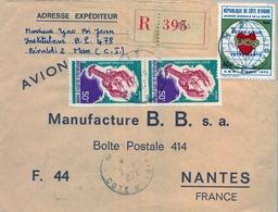 1972 , COSTA DE MARFIL , MAN - NANTES , SOBRE CERTIFICADO , TRÁNSITO DE ABIDJAN Y LLEGADA - Costa De Marfil (1960-...)