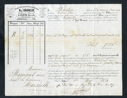 Connaissement - Lettre De Voiture Ou De Roulage 1854 - Port De Cette (Sète - Hérault) -> Marseille - Bill Of Lading - France