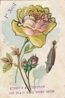 Voeux : 1er Avril : A Paillettes : Fleurs Roses ( Précurseur ) Attention Carte Déchirée Bas Droit 5mm - 1 De April (pescado De Abril)