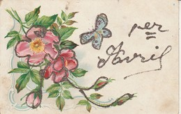 Voeux : 1er Avril : A Paillettes : Fleurs Et Papillon ( Précurseur ) - 1 De April (pescado De Abril)