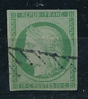 FRANCE YVERT 2 USED LITTLE THINNED PETIT AMINCI - 1849-1850 Ceres