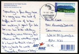 Ref 1255 - 2002 Postcard - Rottnest Island Western Australia $1 Airmail Rate To Solihull GB - Australia
