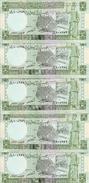 SYRIE 5 POUNDS 1991 UNC P 100 E ( 5 Billets ) - Syrie