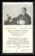LUTTINO - RICORDO DI MONS. LUIGI ELONI NATO A TRENZANO E MORTO A PONTEVICO.- HOLY CARD. - Altri