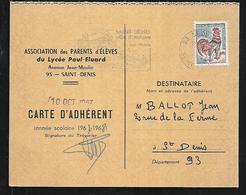 Lycée Paul éluard Saint-denis 93 Carte D'association Des Parents D'élèves 1967-1968 Attribuée - Diplômes & Bulletins Scolaires