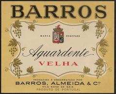 Portugal Brandy Label - Barros, Almeida & Cº. - Aguardente Velha - Barros - Etiquette De Brandy - Labels