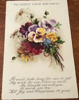 """""""To Greet Your Birthday"""" ~ It Won't Take Long For Me To Tell.........depicting A Bunch Colourful Flowers - Verjaardag"""