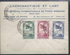 VIGNETTE 3 VIGNETTES 1930 1ere EXPOSITION POSTE AERIENNE L'AERONAUTIQUE ET L'ART SUR LETTRE LABLE - Marcophilie (Lettres)