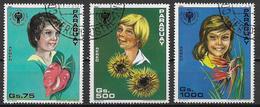 PARAGUAY 1981 POSTA AEREA ANNO INTERNAZIONALE DEI GIOVANI YVERT POSTA AEREA 869-871 USATA VF - Paraguay