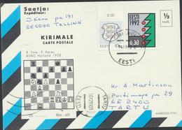 53-1 Estonia Chess Postcard  Mi Nr 195, 204 - Estonia