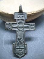 Ancient Bronze Cross 15-17 Century - Archéologie