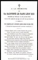 Faire-part De Décès - Mémento - Sa Sainteté Le Pape Léon XIII - Décédé Au Vatican Le 20 Juillet 1903 - Décès