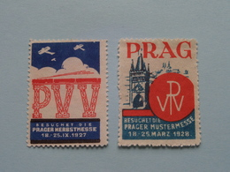 PRAG 1928 MUSTERMESSE & 1927 HERBSTMESSE Prague ( Sluitzegel Timbres-Vignettes Picture Stamp Verschlussmarken ) - Seals Of Generality