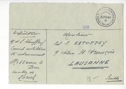 HITTNAU CENSURE CENSOR LAUSANNE WW2 SUISSE INTERNES CAMP INTERNEMENT FRANCHISE /FREE SHIP. R - Marcophilie