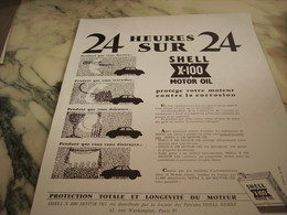 ANCIENNE PUBLICITE 24 HEURES SUR 24  SHELL  1954 - Transports