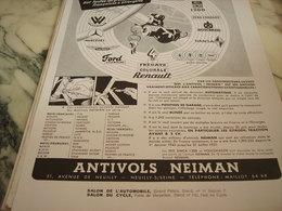 ANCIENNE PUBLICITE LE SEUL ANTIVOLS NEIMAN 1951 - Transports