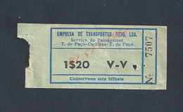 PORTUGAL TICKET DE TRANSPORT LE FERRY ( BATEAU ) DE LISBONNE À CACILHAS : - Titres De Transport