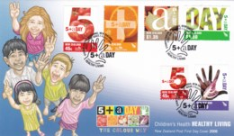 New Zealand 2006 Children's Health - Healthy Living, 5+ A Day FDC - FDC