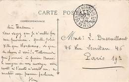 D-19-145 : CARTE POSTALE CACHET MANUEL. BORDEAUX GARE. GIRONDE. 22 AOUT 1909. - Marcophilie (Lettres)