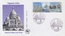 Enveloppe  FDC  Vignette  LISA    Salon   Du  Timbre   Et   De  L' Ecrit   PARIS   2008 - 1999-2009 Viñetas De Franqueo Illustradas
