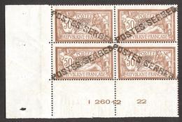 Poste  Serbes à Corfou - Bloc De 04 CDF # 13 , Yvert# 120 Merson  50c - Neufs ** + Certificat D'authenticité - RARE . - Guerres