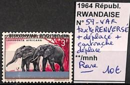 D - [827301]Rwanda 1964 - N° 59VAR, Variétés, Texte Renversé + Déplacé + Cartouche Déplacé, Animaux, Éléphants, SNC - Elephants