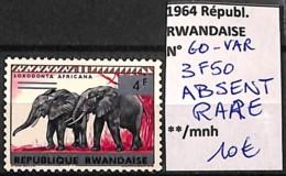 D - [827309]Rwanda 1964 - N° 60VAR, Variétés, 3,50f Absent Cdf, RARE, Animaux, Éléphants - Elephants