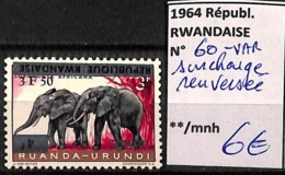 D - [827317]Rwanda 1964 - N° 60VAR, Variétés, Surcharge Renversée, Animaux, Éléphants, SNC - Elephants