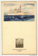 Menu  Dessin ROYON Compagnie Belge Maritime Du Congo CMB  BAUDOUINVILLE CHARLESVILLE - Voyage Commandant HANNON 1954 - Menus