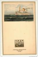 Menu  Dessin ROYON Compagnie Belge Maritime Du Congo CMB  ALBERTVILLE -  CHARLESVILLE - Voyage Commandant HANNON 1954 - Menus