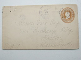 1904 , Costa Rica , Letter Postal  A  Boston , USA - Costa Rica