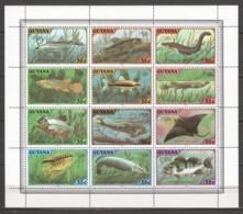 Guyana 1980 Kleinbogen Mi 580-591 MNH FISHES - Fische