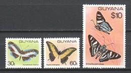 Guyana 1980 Mi 573-575 MNH BUTTERFLIES - Papillons