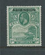 Ascension 1922 1d Green Overprint On St Helena FM - Ascension