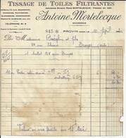 PROVIN ANTOINE MORTELECQUE TISSAGE DE TOILES FILTRANTES POUR BRASSERIES SUCRERIE  RAFINERIES AMIDONNERIES ANNEE 1930 - France