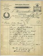 Spécialité & Magasin De Cercueils F. Hessenmuller, 2 Rue Chaucrau à Lausanne. Pompes Funèbres. 1898. - Suisse