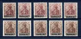 Z48573)Saar 44 A + B Per 5 Stück**, Signiert - 1920-35 Société Des Nations