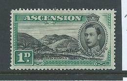 Ascension 1938 KGVI Definitives 1d Green Mountain Perf 13.5 FM HR - Ascension