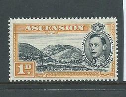 Ascension 1938 KGVI Definitives 1d Orange Mountain Perf 13.5 MLH - Ascension