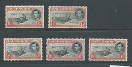 Ascension 1938 KGVI Definitives 1 & 1/2d Red Pier 5 Values Mint Or Unused - Ascension
