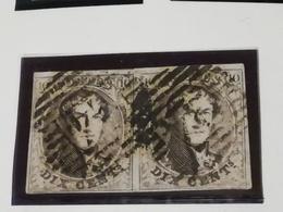 COB N °10A  En Paire. Oblitération P24 (14 Barres) Bruxelles - 1858-1862 Médaillons (9/12)