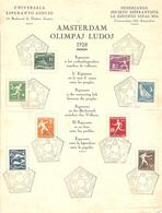 1928 Jeux Olympiques,Olympics Games: Amsterdam:série Olympique Feuillet Espéranto: Cachet N3 - Summer 1928: Amsterdam